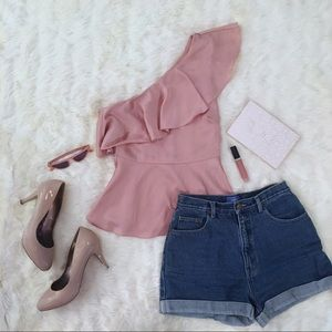 H&M One Shouldered Peplum And Flare Pink Top